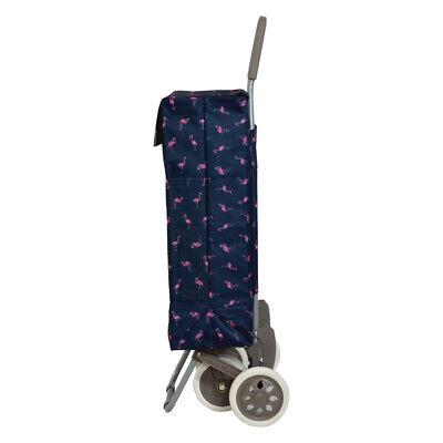 Carro de la compra 4 Ruedas de 2 Bolsillos azul marino flamencos moda envios 24h 2