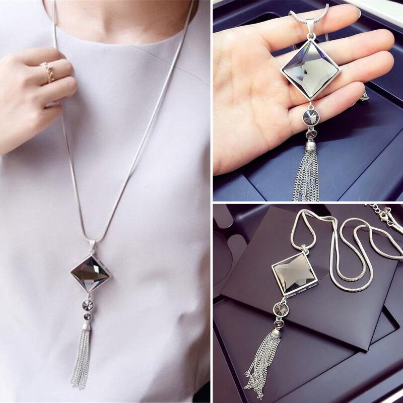 Stylish Women/Ladies Pendant Necklace Square Big Drop Long Chain Sweater Tassel 2