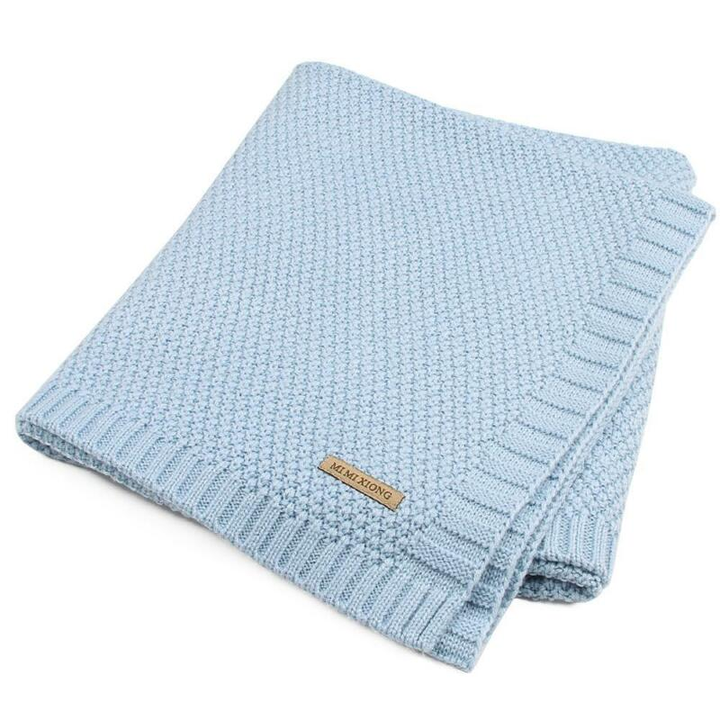 Solid Cotton Knitted Baby Blanket Soft Warm Cover for Boys Girls Kids 7 Colors 12