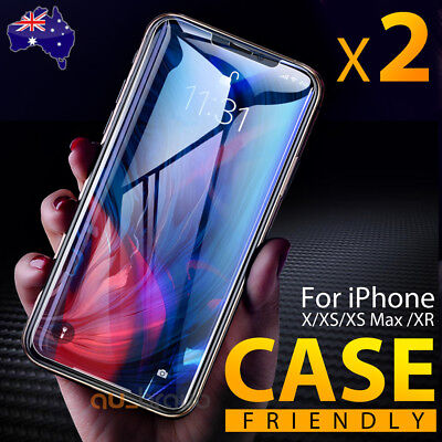 Apple iPhone XS Max XR X - 2x Scratch Resist Tempered Glass Screen Protector 2
