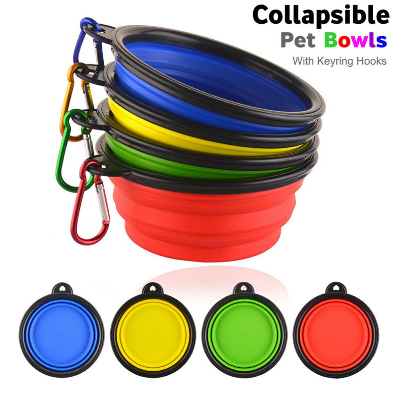 Silicone Cat Dog Pet Feeding Bowl Water Dish Feeder Travel Portable Collapsibles 2