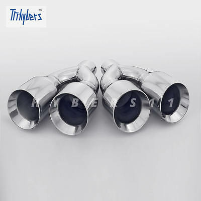 Pair Quad Out 2.5 In Dual 4 Out 11.8 Long Dual Wall Stainless Steel Exhaust Tips
