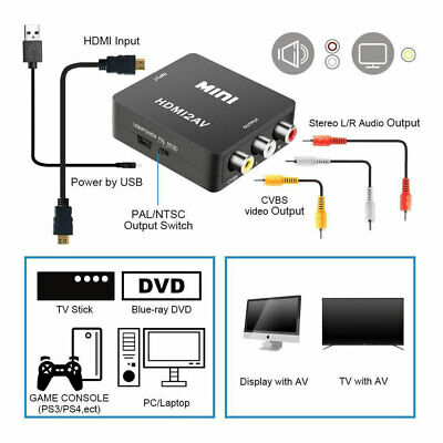 HDMI To AV Adapter Converter Cable CVBS 3RCA 1080P Composite Video Audio For TV 5