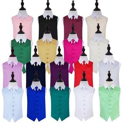 "Premium Satin Solid Plain Wedding Vest Men's / Boys Waistcoat & Tie 22""-50"" 3"