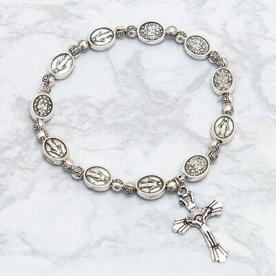 Vintage Silver Miraculous Medal Rosary Bracelet Cross Crucifix Virgin Mary Roses 4