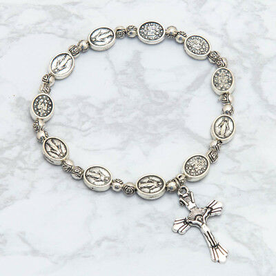Vintage Style Silver Miraculous Medal Rosary Bracelet Cross Crucifix Virgin Mary 4