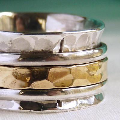 Classic MEDITATION Spinner Sz 7.5 SilverSari 3SPIN Fidget Ring Solid 925 Silver