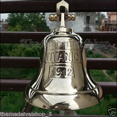SOLID BRASS MARINE SHIP BELL VINTAGE NAUTICAL DECOR WALL MOUNTING Hanging 2