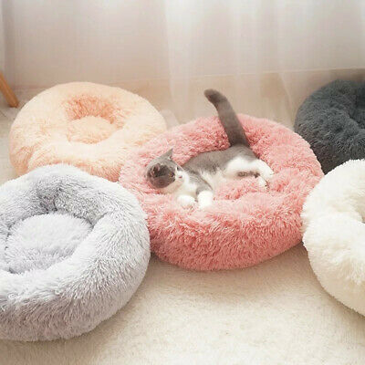 UK large Luxury Shag Warm Fluffy Pet Bed Dog Puppy Kitten Fur Donut Cushion Mat~ 2
