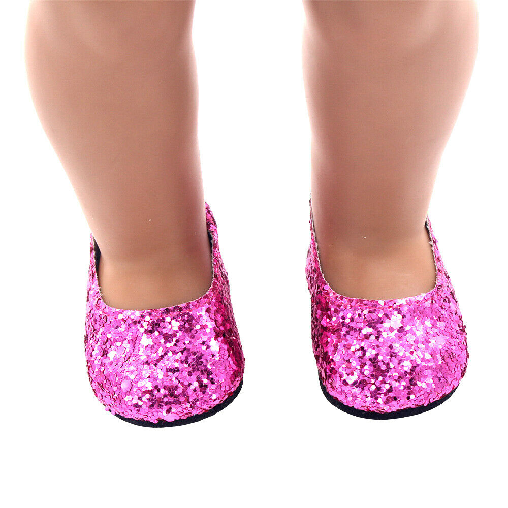 6Pairs Modern Doll Shoes Sparkle Sequined Shoe For 18 inch American Girl Doll 4