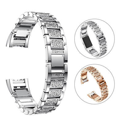 For Fitbit Charge 2 Smart Watch Crystal Stainless Steel Watch Band Wrist Strap E 5