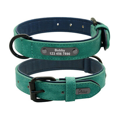 Soft Padded Leather Personalized Dog Collar Name ID for Small Medium Large Dogs 3