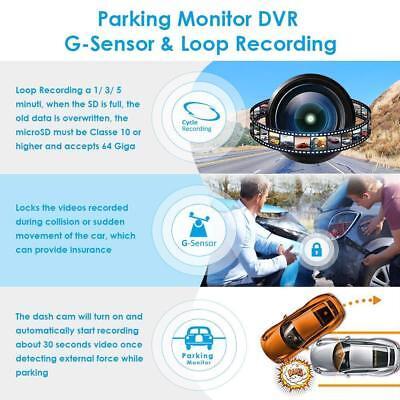 "AZDOME 10"" HD 1080P Dual Lens Car Dash Cam Recorder Mirror Touching Night Vision 7"