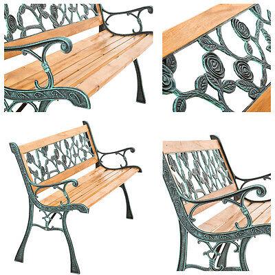 Banc mobilier meuble de jardin parc canapé terrasse en bois et fonte 124 cm neuf 3