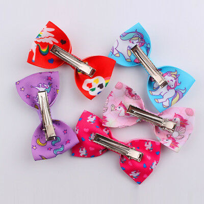 1/5/10Pcs Cartoon Unicorn Bow Hair Clips Hair Pin Kid Baby Girl Hair Accessory 7