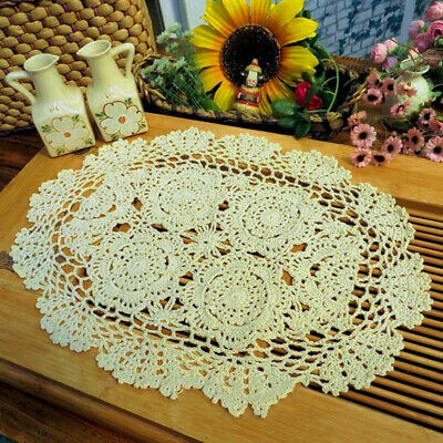 "Vintage Handmade Crochet Doilies Oval Lace Doily Table Runner Mats Ecru 11""x17"" 3"