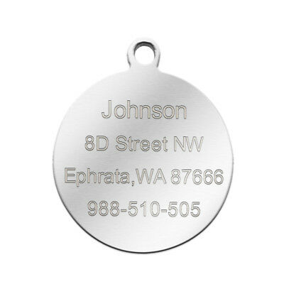 Stainless Steel Personalized Dog Tags Bone Round Military ID Name Tags Sliver 10