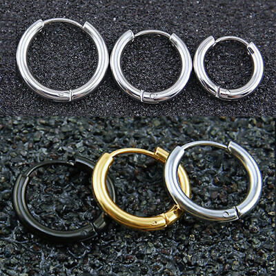 2PC Multi-Sizes UNISEX MENS WOMENS STAINLESS STEEL HOOP HUGGIE SLEEPER EARRINGS 8
