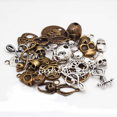 Wholesale Steampunk Skull Cross Gear Pendant Charms For Bracelet Jewelry Finding 8