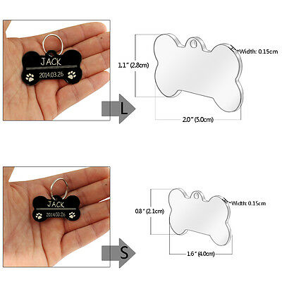 Personalized Dog Tags Engraved Cat Puppy Pet ID Name Collar Tag Bone/Paw Glitter 12