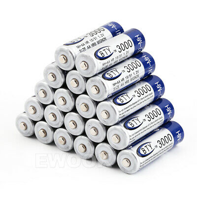 OZ 4-20X BTY AA Rechargeable Battery Recharge Batteries 1.2V 3000mAh Ni-MH 2