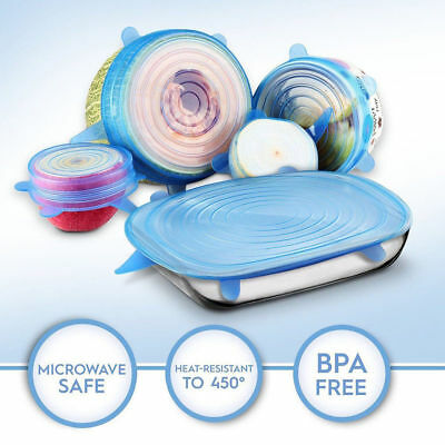 Stretch Reusable Silicone Bowl Wraps Food Saver Cover Seal Lids NSTA LIDS 6 PCS 5