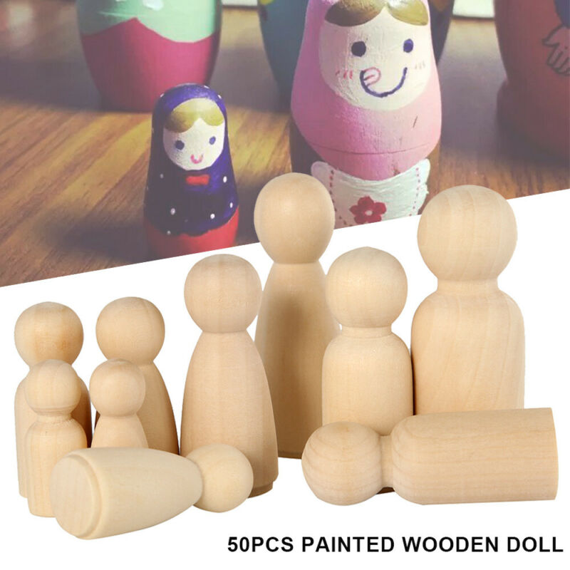 50PCS DIY Wooden Peg Doll Unfinished Family People Wedding Craft Man/Lady/Kids 2