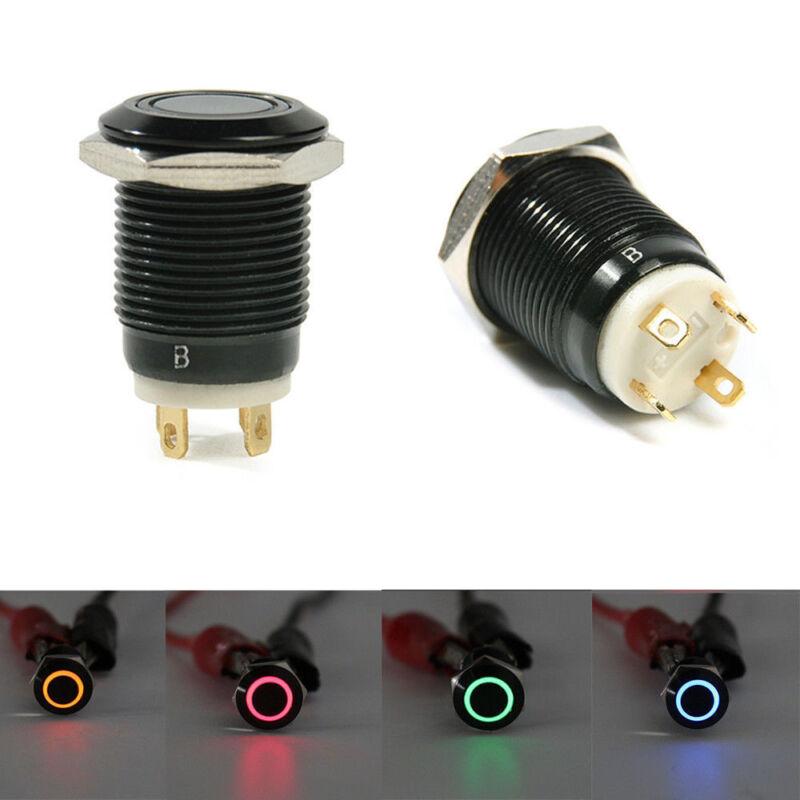 1x Noir 12V 4 broches 12mm LED bouton poussoir interrupteur momentané Nouveau 4