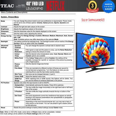 "TEAC 40"" Inch FHD SMART TV Netflix Youtube Freevie Made In Europe 3Year Warranty 10"
