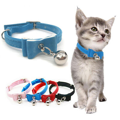 Small Pet Dog Cat Collar Leather Bow Tie With Bell Puppy Kitten Necktie Collar 7