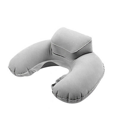 Portable Travel Inflatable Neck Pillow U Shape Blow Up Neck Cushion PVC Flocking 3