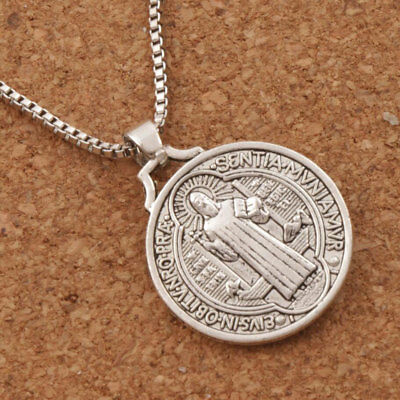 "Jesus Crucifix Saint St Benedict Medal Cross Pendant Necklace 24"" Box Chain 2"