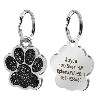 Round Bone Paw Print Custom Personalized Dog Tags Disc Free Engraved Cat ID Tag 4