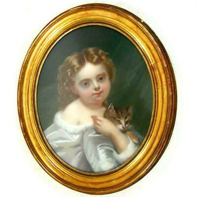 French Portrait of a Little Girl & Cat Pastel Painting Signed, Framed 3