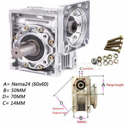 NEMA24 Worm Speed Reducer Gearbox 10 15 20 25 30 40 50 60 100:1 fr Stepper Motor 2