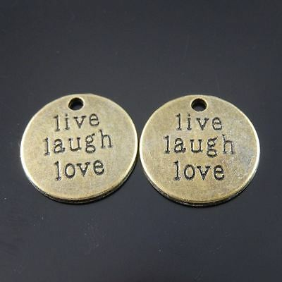 30X Vintage Style Bronze Tone Live Laugh Life Motto Pendant Charms 19*19*2mm 3