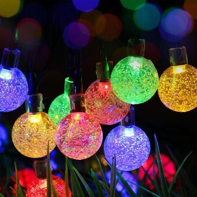 30 LED Solar Powered Garden Party Fairy String Crystal Ball Lights Outdoor 3