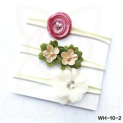 Handmade Newborn Baby Girls Flower Headband Infant Toddler Knot Hair Band Sets 3