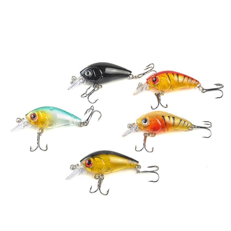 5pcs Fishing Lures Crankbaits Treble Hooks Randomly Baits Tackle Bass Minnow 12