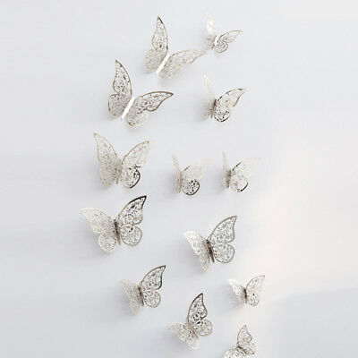 12 Pcs 3D Hollow Wall Stickers Butterfly Fridge For Home Decoration Stickers 8