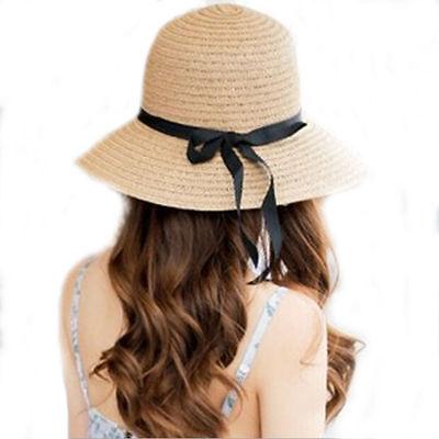 Floppy Foldable Ladies Women Straw Beach Sun Summer Hat Beige Wide Brim SumDLUK 2