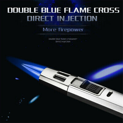 Windproof Cigar lighter Metal Gas Double straight lighter Butane with 2 Torch 2