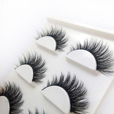 3 Pairs 100% Real 3D Mink Makeup Cross False Eyelashes Eye Lashes Handmade 8