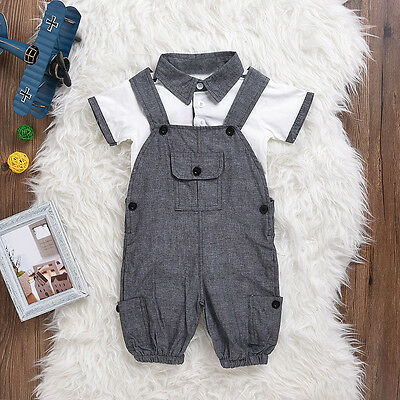 Newborn Baby Boy Gentleman Outfit Clothes Shirt Tops+Bib Pants Jumpsuit 2PCS Set 2