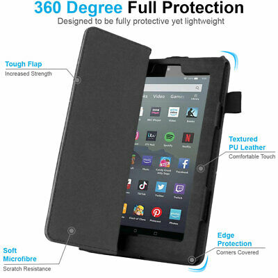 """for Amazon Fire 7"""" 2019 9th Generation Leather Flip Smart Case Stand Cover 3"""