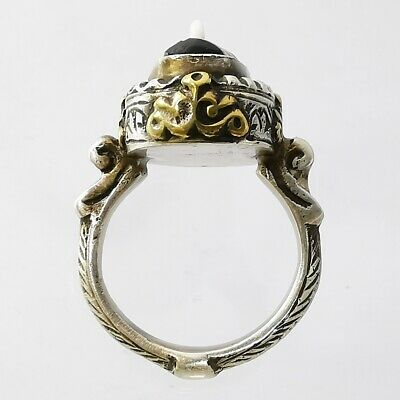Ancient Lovely Nose Mosaic Gabri Glass (half) Bead Ring 925 Solid Silver #A120 4