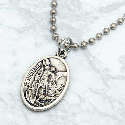 "Patron Saint St Michael The Archangel 1"" Medal Pendant Necklace 24"" Chain Italy 4"