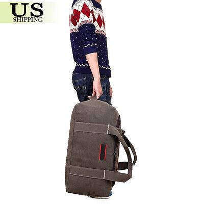 Men's Military Canvas Leather Gym Duffle Shoulder Bag Travel Luggage Handbag 8