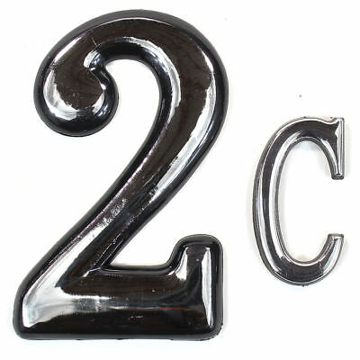 """Self Adhesive Door Numbers Chrome Finish 4"""" Number 2"""" Letter House Apartment 8"""
