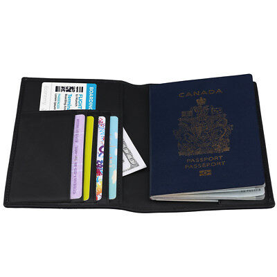 Travel Trip Secure RFID Blocking Leather Passport Holder Cards Case Cover Wallet 8